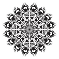 Black and white circular peacock tail