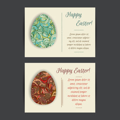 Happy Easter holiday card templates. Set of two card template designs, perfect for brochure covers, leaflets, flyers, cards and invitations.