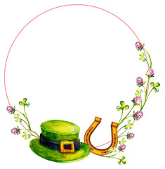 Elegant round frame with a leprechaun hat