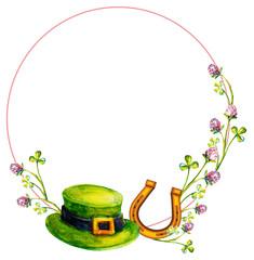 Elegant round frame with a leprechaun hat