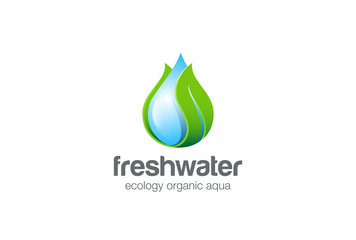 Eco Waterdrop Logo design. Natural clear ecology water aqua