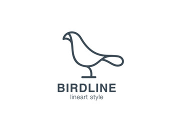 Bird Logo design linear style. Dove Logotype symbol outline icon