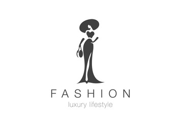Fashion Elegant Woman Logo. Lady negative space jewelry icon