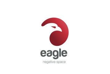 Eagle Logo design negative space. Wild Bird Falcon Logotype icon