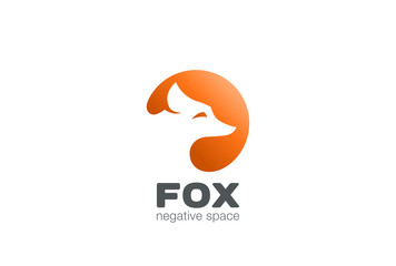 Fox Logo design negative space. Wild Animal Logotype icon