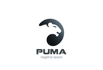 Wild Puma Logo design vector negative space Animal Logotype icon