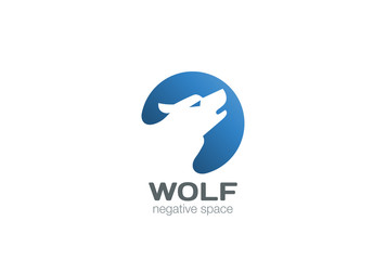 Wolf Logo design vector negative space style. Dog Logotype icon