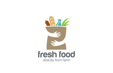 Food Shopping Logo design. Hands Holding Bag negative space icon