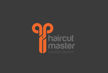 Scissors Logo design icon. Hairdresser Beauty salon Logotype