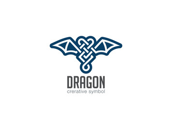 Dragon Logo design vector. Celtic style Wings Logotype icon
