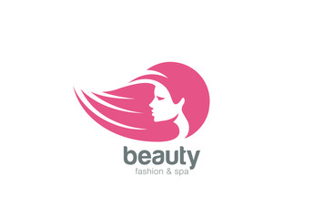 Beautiful woman head abstract Logo design vector Negative space