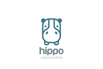 Hippo Head Logo design. Wild Safari Linear icon. Hippopotamus