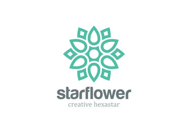 Abstract Star Linear Shape Logo design. Flower outline icon