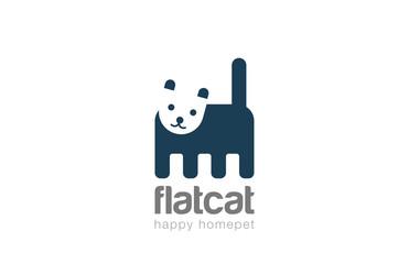 Funny Cat Logo design vector. Geometric Negative space Home pet