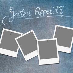 Tafel mit Platzhaltern für Fotos von Tagesgerichten, Speisekarte, Guten Appetit!, Template für eigene Fotos, Auswahl, Gastronomie