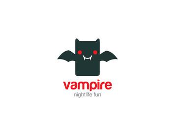 Funny toy cute Vampire bat Logo design vector. Toy store icon