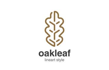 Oak Leaf Logo design vector template linear style.