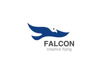 Eagle Bird Logo design vector negative space. Falcon icon