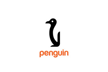 Penguin Logo design vector Negative space style. Funny Bird icon
