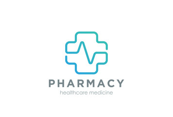 Pharmacy Cross Logo design Linear. Medical Clinic Healthcare