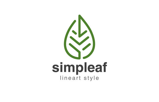 Abstract Leaf Logo design vector template linear style.