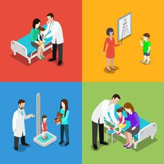 Medicine pediatrician children doctor hospital vector flat 3d
