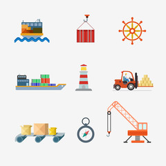 Delivery shipment transport container ship crane vector icon