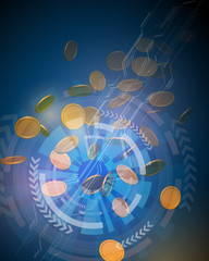 virtual currency, real money trade, finance technology, abstract image, vector illustration