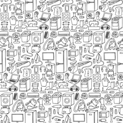 Household appliances hand drawn seamless pattern