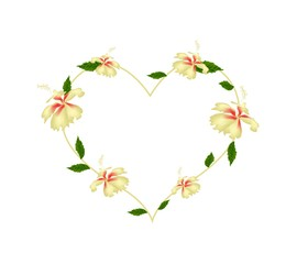 Yellow Hibiscus Flowers in A Heart Shape