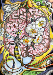 The human brain and a wasp. Surreal hand drawn illustration.