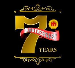Golden 7th anniversary logo and red ribbon