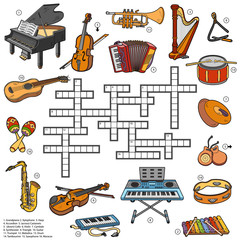 Color crossword about music instruments
