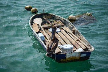 Bote para pescar con un pelícano parado a un costado.