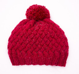 Red knitted woolen hat