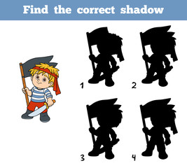 Find the correct shadow (pirate boy and flag)