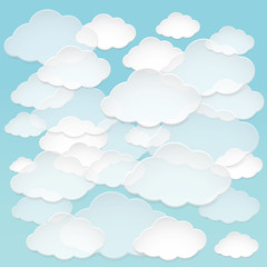 Vector abstract paper clouds in the blue sky.