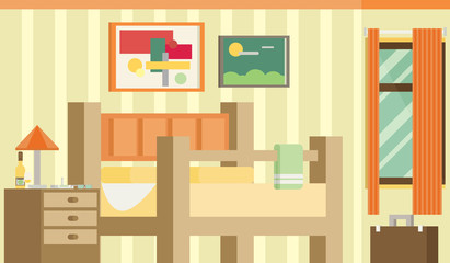 Flat design vector illustration of room interior