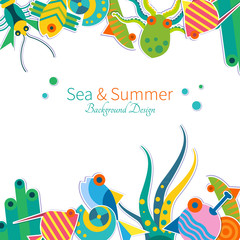Vector background with sea animals