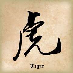 Chinese Calligraphy Tiger, Kanji