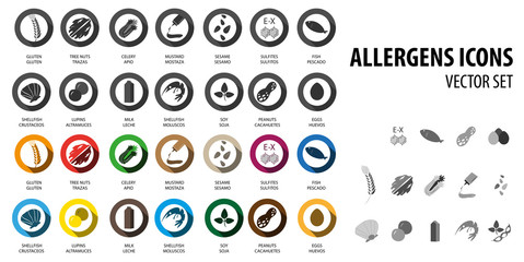 Food allergens bubble icons