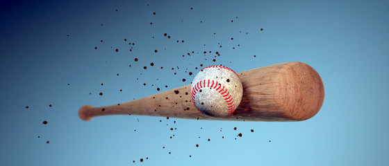 wooden baseball bat hitting a ball