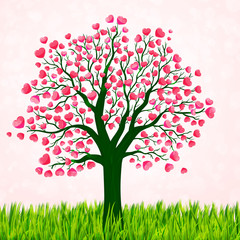 Valentines Day background with love tree