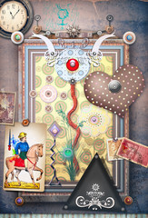 Magic mushroom in the old frame