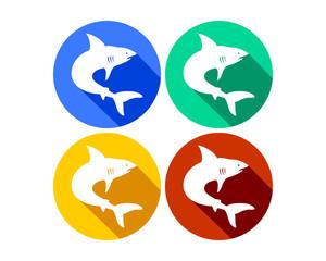 Creative Marine Shark Colorful Round Icons