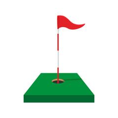 Red golf flag cartoon icon