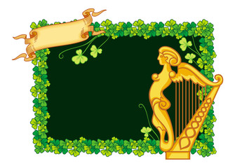 Clover frame and irish harp