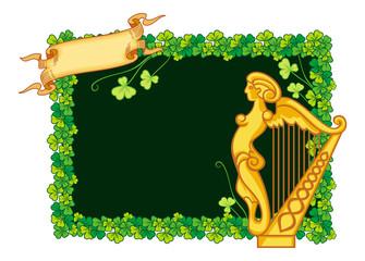 Clover frame and irish harp