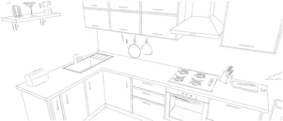 Sketchy abstract black-and-white modern kitchen