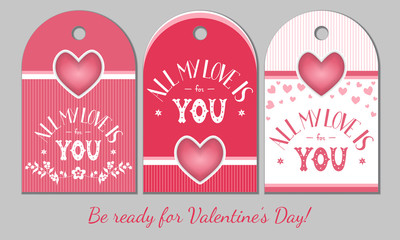 St Valentines Day present tags. Holiday gift cards with hearts and love hand drawn lettering for romantic evening, bouquet, candies, toys. Decoration design elements set. Vector illustration.